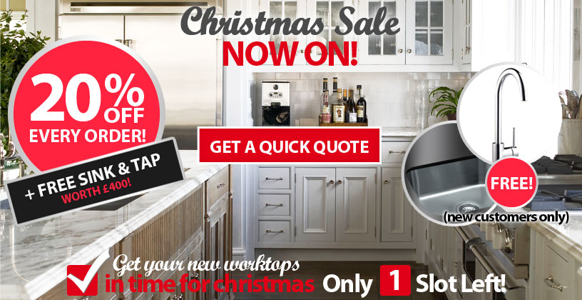 Get a free sink and tap this Christmas with your worktops order.